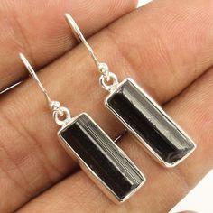Stunning Earrings Natural BLACK TOURMALINE Gemstones 925 Solid Sterling Silver #Unbranded #DropDangle
