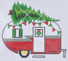 """Christmas Camper Van"" painted canvas by Danji Designs Size: x Mesh Count: 18 Cross Stitch Christmas Ornaments, Christmas Cross, Country Christmas, Christmas Balls, Xmas, Diy Embroidery, Cross Stitch Embroidery, Cross Stitch Patterns, Christmas Door Decorations"
