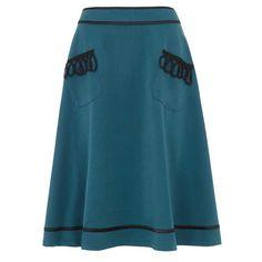 Voodoo Vixen Sarah elegante wijd uitlopende midi rok blauw petrol Vintage 1950s style skirt