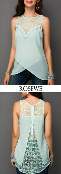 Lace Patchwork Zipper Back Sleeveless Blouse.#Rosewe#sleeveless#blouse