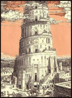 Tomislav Tomic Tower of Babylon, unpublished, indian ink & acrylic Tarot, Fantasy Kunst, Fantasy Art, Turm Von Babylon, Graphic Design Illustration, Illustration Art, Tower Of Babel, Ancient Mesopotamia, Tower Design