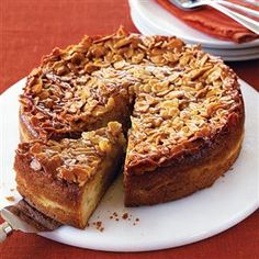 Pear and almond cake with almond crunch topping recipe. An impressive cake to serve for afternoon tea or dessert, this moist cake is finished with a beautiful nutty topping.