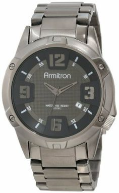 Armitron Men's 20/4692DSDS Dark Silver-Tone Stainless-Steel Bracelet Watch Armitron. Save 25 Off!. $63.74. Stainless-steel adjustable link bracelet in polished dark silver-tone with brushed center links. Dark silver-tone hour, minute and second hands. Japanese quartz movement and scratch resistant mineral crystal. Dark silver-tone dial with silver-tone arabic numerals at 12-3-6-9; white index markers at 1-2-4-5-7-8-10-11. Water-resistant to 50 M (165 feet)