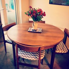 My g-plan table and newly upholstered chairs