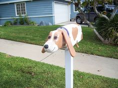 Unique Mailboxes, Pet Parade, Mailbox Ideas, You've Got Mail, Mail Boxes, Basset Hound Dog, Bassett Hound, Dog Rules, Pin Pin