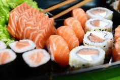 Japanese food - Sushi and sashimi - Stock Photo , Healthy Sushi, Healthy Recipes, Healthy Food, Healthy Options, Sushi Comida, Nigiri Sushi, Diner Spectacle, Japanese Food Sushi, Raw Salmon