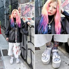 Ena works at the Harajuku legwear boutique Avantgarde Harajuku. When we snapped Ena, her look featured dip dye hair, a sheer kimono top, Algorithm pants, and YRU platform sandals with metallic tabi socks. -TokyoFashon