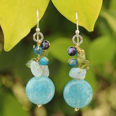 Handcarfted Sterling Silver Azure Joy Multi-gemstone Blue Beaded Earrings (Thailand)