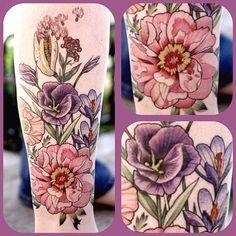 #floral #leg #alicekendall #botanical one session #wonderlandpdx #wonderlandtattoo