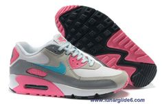 Nike Air Max 90 White Bright Turquoise Laser Pink Cool Grey Womens Shoes Outlet