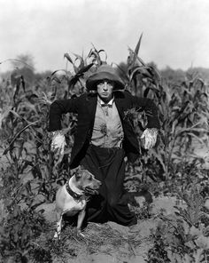 """Buster Keaton and Luke the Dog hanging around in """"The Scarecrow."""" #BusterKeaton #dog #silentfilm"""
