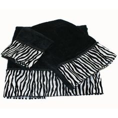#9: 3 PIECE ZEBRA BLACK  WHITE BATH, HAND  WASH CLOTH TOWEL SET.