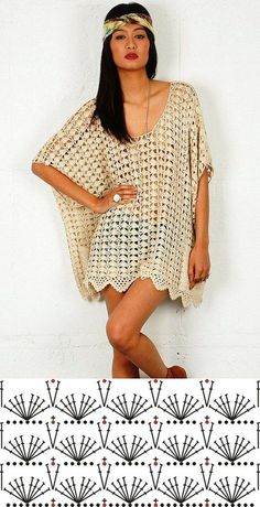 Crochet dress chart pattern by tammie – Artofit The scheme of summer crochet knitting tunicsThis Pin was discovered by Blouses Cardigan To Not Miss - Luxe Fashion New TrendsDiscover recipes, home ideas, style inspiration and other ideas to try. Beau Crochet, Poncho Au Crochet, Pull Crochet, Crochet Blouse, Crochet Lace, Crochet Stitches, Crochet Mermaid, Crochet Wedding, Crochet Summer Tops