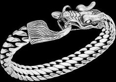 Gothic Jewelry - .925 Sterling Silver 'Guardian Dragon' Bracelet B1042 - Ornate Hook Clasp - 12mm