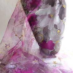 "Etole écharpe foulard en mousseline de soie peint main fleuri "" matin…"