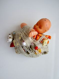 transitional objects These pieces have been made from found and abandoned objects which have been wrapped in wool yarn, thread and wire. The objects suggest the idea of being bound up, which can be both for protection and to restrict. Make Do And Mend, Art Brut, A Level Art, High School Art, Soft Dolls, Soft Sculpture, Lost & Found, Art Object, Sculpture