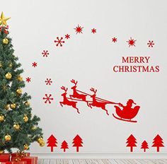 Merry Christmas  Wall Sticker Oksale 472x 228 Inch Wallpaper Home Bedroom Living Room Applique Papers Mural Decoration Decal Red >>> Want to know more, click on the image.