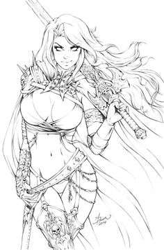 Lady Death. Pencil sketch and in full color.