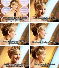 Jennifer Lawrence's Golden Globe 2014 Acceptance Speech. OMIGOSH she's so cute :3