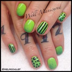 Green with envy over this mani.... #wellmanicured #nails #moodgel #lechat #gel #colorchanginggel #manhattanbeach #manicure #hermosabeach #intheheartofthesouthbay #green #nailart #polkadots #stripes #Padgram