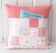 Peachy Keen Quilted Pillow with Reading Pocket