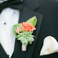 Keepsake Memories Photography/The Knot This Contrasting Rose and Succulent Boutonniere Dahlia Bridal Bouquet, Bridal Flowers, Floral Wedding, Diy Wedding, Wedding Ideas, Gypsy Wedding, Autumn Wedding, Farm Wedding, Wedding Attire