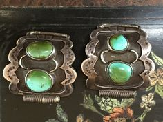 Signed Navajo Turquoise & Sterling Silver Watch Band Plates - Yourgreatfinds, Vintage Jewelry - 1