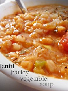 lentil vegetable barley soup (crock pot friendly) from a full measure of happiness