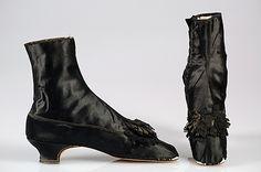 """1855-65 Evening Boots - Silk labeled: """"Paris/20 Rue de la Paix/Dufossée Succr de Melnotte/Fournr. de Plusieurs cours Etrangères/25 Old Bond Street London"""" Inscribed: """"Mme. G.B. Roberts"""".  See them at http://www.metmuseum.org/Collections/search-the-collections/80106935#"""