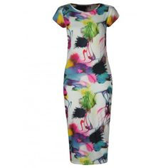 KarmaClothing Multi Colour Cap Sleeve Abstract Paint Brush Splash Print Midi Dress