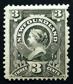Newfoundland #60 3c Slate 1890 VF Nicely Centered, Full Gum, Mint Lightly Hinged, Post Office Fresh Rich Color item # 181352160571