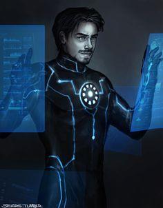 Tony Stark, Earth's Mightiest Heroes version, doing Science!