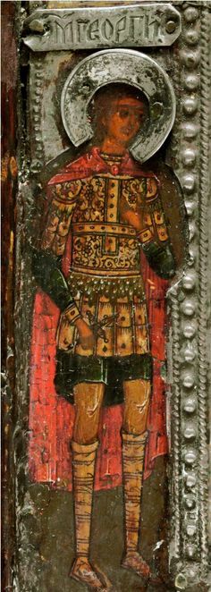 This image of Saint George, dressed as a soldier, comes from the border of a 17th century icon of the Mother of God.