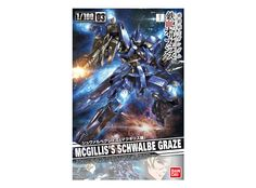 Model kit - Gunpla of McGilli`s Schwalbe Graze (EB-05s) from the anime series Mobile Suit Gundam IRON-BLOODED ORPHANS. High quality model that must assembled (includes all snap-in parts and stickers), made of PVC material, with a scale of 1/100 (Master-Grade), by Bandai. Includes detailed assembly instructions.