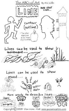 Elements and Principles of Art Handouts High School Art, Middle School Art, Visual Art Lessons, Visual Arts, Elements Of Art Line, Art Handouts, Art Basics, Inspiration Art, Art Worksheets