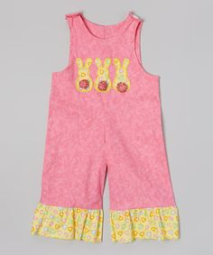 Pink Bunny Ruffle Overalls - Infant & Toddler