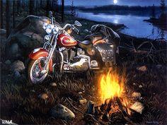 Мотоцикл на берегу реки. - анимация на телефон №1380009
