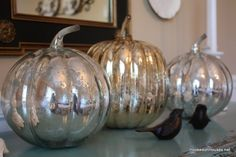 .pumpkins spray painted with mirror paint?