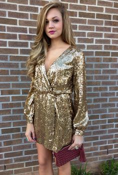 V Neckline Gold Sequin Wrap Dress With Long Sleeves for 2015 New Year - New Year Clothes, Tassel Purse  #2015 #new #years #dresses