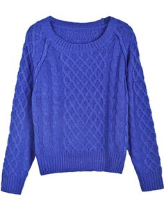Blue Long Sleeve Diamond Patterned Cable Knit Sweater $MXN432.86