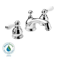 Widespread 2 Handle Low Arc Bathroom Faucet In Chrome With Porcelain Levers