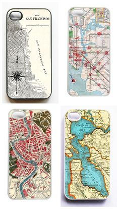 Vintage maps turned into beautiful iPhone cases from On Your Case Store at Etsy
