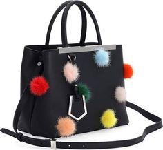 Fendi 2Jours Petite Leather + Fur Dots Satchel Bag, Black, Women's
