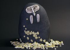 Expressions of Nature: Clearcutting (Golden Owl II), Ville Heimala, Ceramic sculpture covered with ceramic reliefs, height 31 cm. Beanie, Ceramics, Nature, Owls, Sculptures, Ceramica, Pottery, Naturaleza, Beanies