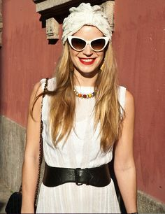 turban, cat eyed sunglasses and red lippie