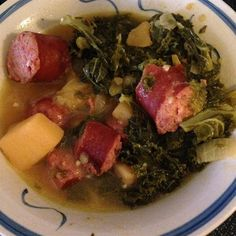 "Kielbasa Kale Stew I ""Finally, a great way to eat Kale. I used spicy red hot sausage and it gave the soup a spicy zing. Delicious!"""