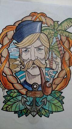 Marujo do livro colorindo tattoo. Colorido com lápis de cor. Desenhos antiestress