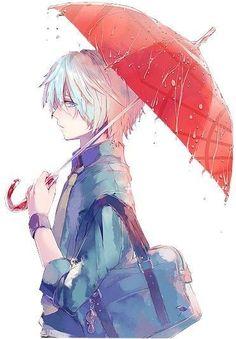 Garoto Anime fofo com Guarda Chuva