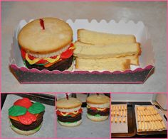 """""""Burgers & Fries"""" made from cupcakes & pound cake made for my daughter's 12th birthday. The burgers took a while to make but it was worth it. Idea from: http://cookiescupcakesandcardio.com/"""