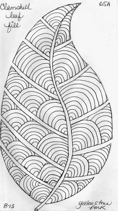 Leaf Designs 5 -- see all her variationsLeaf Designs 5 know it is a leaf design, but I see a feather.More Leaf Designs from my Quilting Sketch Book . Again, I chalk out the basic leaf shape on the ideas painting diy canvases leaves for 2019 Doodle Patterns, Zentangle Patterns, Embroidery Patterns, Quilt Patterns, Leaf Patterns, Zentangle Drawings, Doodles Zentangles, Coloring Books, Coloring Pages